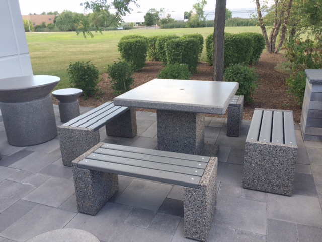 Concrete Table Sets for outdoor patio at Aircraft Propeller Services Doty C
