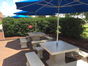 Concrete table for employee patio break area.